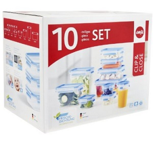 1.Emsa Clip and Close Food Container Set, Transparent